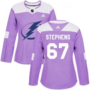 Tampa Bay Lightning Mitchell Stephens Official Purple Adidas Authentic Women's Fights Cancer Practice NHL Hockey Jersey