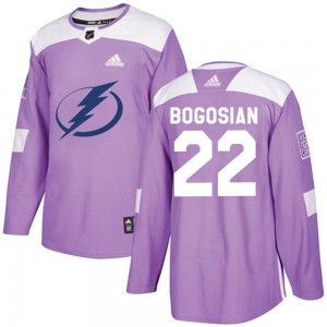 Tampa Bay Lightning Zach Bogosian Official Purple Adidas Authentic Adult Fights Cancer Practice NHL Hockey Jersey