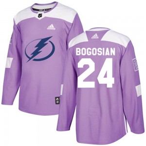 Tampa Bay Lightning Zach Bogosian Official Purple Adidas Authentic Adult ized Fights Cancer Practice NHL Hockey Jersey