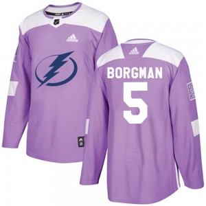 Tampa Bay Lightning Andreas Borgman Official Purple Adidas Authentic Adult Fights Cancer Practice NHL Hockey Jersey