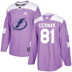 Tampa Bay Lightning Erik Cernak Official Purple Adidas Authentic Adult Fights Cancer Practice NHL Hockey Jersey