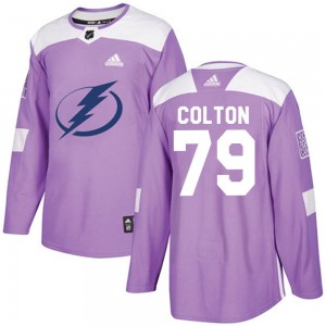 Tampa Bay Lightning Ross Colton Official Purple Adidas Authentic Adult Fights Cancer Practice NHL Hockey Jersey