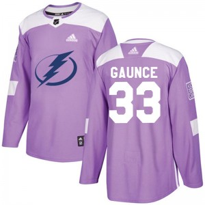 Tampa Bay Lightning Cameron Gaunce Official Purple Adidas Authentic Adult Fights Cancer Practice NHL Hockey Jersey