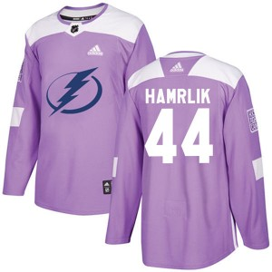 Tampa Bay Lightning Roman Hamrlik Official Purple Adidas Authentic Adult Fights Cancer Practice NHL Hockey Jersey