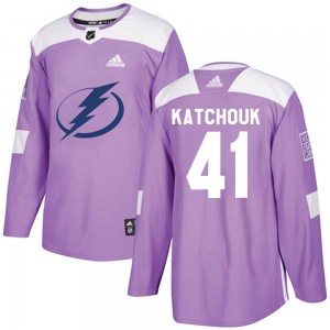 Tampa Bay Lightning Boris Katchouk Official Purple Adidas Authentic Adult Fights Cancer Practice NHL Hockey Jersey