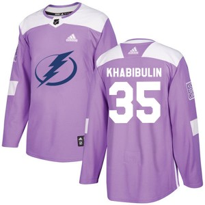 Tampa Bay Lightning Nikolai Khabibulin Official Purple Adidas Authentic Adult Fights Cancer Practice NHL Hockey Jersey
