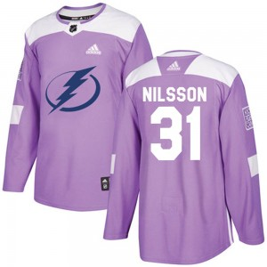 Tampa Bay Lightning Anders Nilsson Official Purple Adidas Authentic Adult Fights Cancer Practice NHL Hockey Jersey