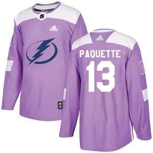 Tampa Bay Lightning Cedric Paquette Official Purple Adidas Authentic Adult Fights Cancer Practice NHL Hockey Jersey