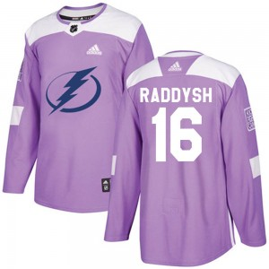 Tampa Bay Lightning Taylor Raddysh Official Purple Adidas Authentic Adult Fights Cancer Practice NHL Hockey Jersey