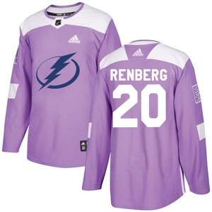 Tampa Bay Lightning Mikael Renberg Official Purple Adidas Authentic Adult Fights Cancer Practice NHL Hockey Jersey