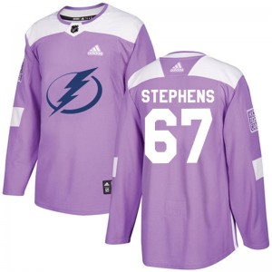 Tampa Bay Lightning Mitchell Stephens Official Purple Adidas Authentic Adult Fights Cancer Practice NHL Hockey Jersey