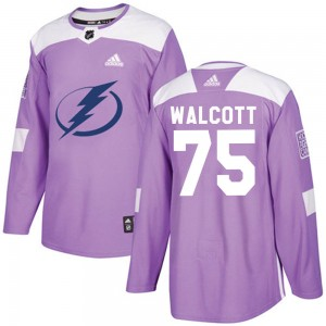 Tampa Bay Lightning Daniel Walcott Official Purple Adidas Authentic Adult Fights Cancer Practice NHL Hockey Jersey