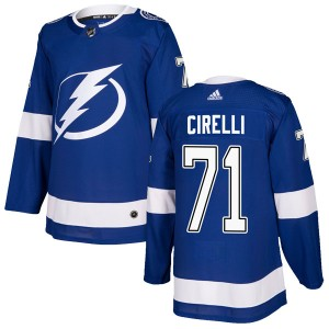 Tampa Bay Lightning Anthony Cirelli Official Blue Adidas Authentic Adult Home NHL Hockey Jersey