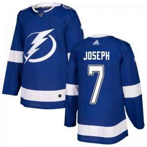 Tampa Bay Lightning Mathieu Joseph Official Blue Adidas Authentic Adult Home NHL Hockey Jersey