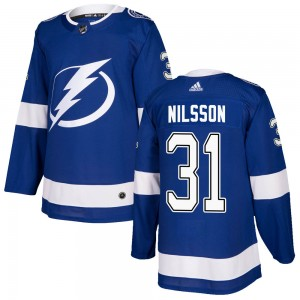 Tampa Bay Lightning Anders Nilsson Official Blue Adidas Authentic Adult Home NHL Hockey Jersey