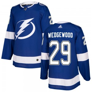 Tampa Bay Lightning Scott Wedgewood Official Blue Adidas Authentic Adult ized Home NHL Hockey Jersey