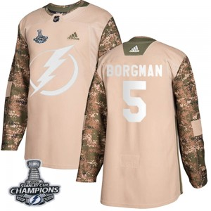 Tampa Bay Lightning Andreas Borgman Official Camo Adidas Authentic Youth Veterans Day Practice 2020 Stanley Cup Champions NHL Ho