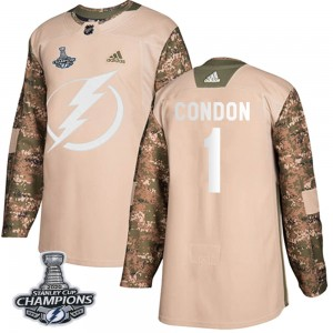 Tampa Bay Lightning Mike Condon Official Camo Adidas Authentic Youth Veterans Day Practice 2020 Stanley Cup Champions NHL Hockey