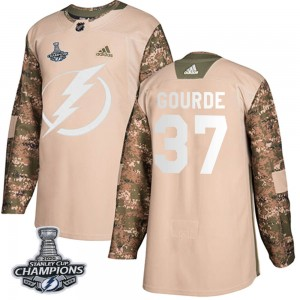 Tampa Bay Lightning Yanni Gourde Official Camo Adidas Authentic Youth Veterans Day Practice 2020 Stanley Cup Champions NHL Hocke