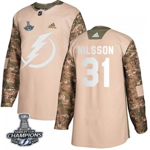 Tampa Bay Lightning Anders Nilsson Official Camo Adidas Authentic Youth Veterans Day Practice 2020 Stanley Cup Champions NHL Hoc