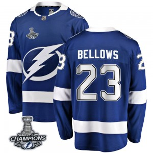 Tampa Bay Lightning Brian Bellows Official Blue Fanatics Branded Breakaway Youth Home 2020 Stanley Cup Champions NHL Hockey Jers