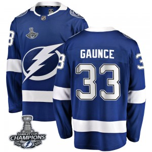 Tampa Bay Lightning Cameron Gaunce Official Blue Fanatics Branded Breakaway Youth Home 2020 Stanley Cup Champions NHL Hockey Jer