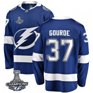 Tampa Bay Lightning Yanni Gourde Official Blue Fanatics Branded Breakaway Youth Home 2020 Stanley Cup Champions NHL Hockey Jerse
