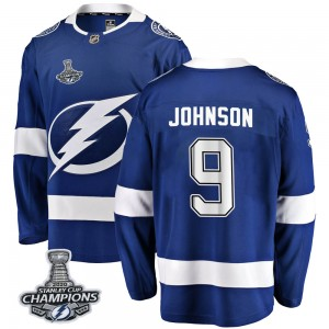 Tampa Bay Lightning Tyler Johnson Official Blue Fanatics Branded Breakaway Youth Home 2020 Stanley Cup Champions NHL Hockey Jers