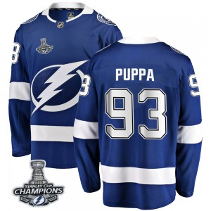 Tampa Bay Lightning Daren Puppa Official Blue Fanatics Branded Breakaway Youth Home 2020 Stanley Cup Champions NHL Hockey Jersey