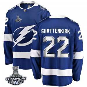 Tampa Bay Lightning Kevin Shattenkirk Official Blue Fanatics Branded Breakaway Youth Home 2020 Stanley Cup Champions NHL Hockey