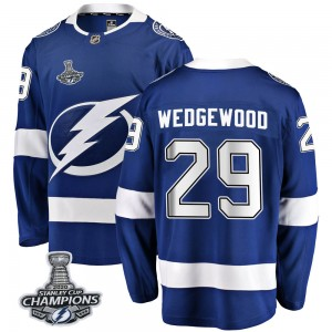Tampa Bay Lightning Scott Wedgewood Official Blue Fanatics Branded Breakaway Youth Home 2020 Stanley Cup Champions NHL Hockey Je