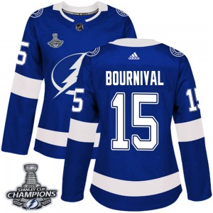 Tampa Bay Lightning Michael Bournival Official Blue Adidas Authentic Women's Home 2020 Stanley Cup Champions NHL Hockey Jersey