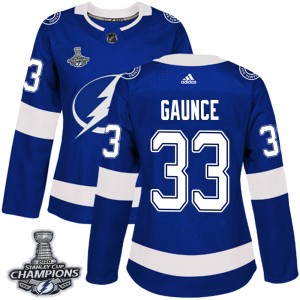 Tampa Bay Lightning Cameron Gaunce Official Blue Adidas Authentic Women's Home 2020 Stanley Cup Champions NHL Hockey Jersey