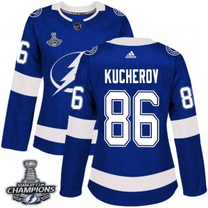 Tampa Bay Lightning Nikita Kucherov Official Blue Adidas Authentic Women's Home 2020 Stanley Cup Champions NHL Hockey Jersey