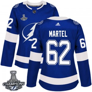 Tampa Bay Lightning Danick Martel Official Blue Adidas Authentic Women's Home 2020 Stanley Cup Champions NHL Hockey Jersey