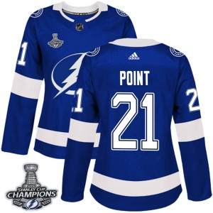 Tampa Bay Lightning Brayden Point Official Blue Adidas Authentic Women's Home 2020 Stanley Cup Champions NHL Hockey Jersey