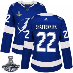 Tampa Bay Lightning Kevin Shattenkirk Official Blue Adidas Authentic Women's Home 2020 Stanley Cup Champions NHL Hockey Jersey