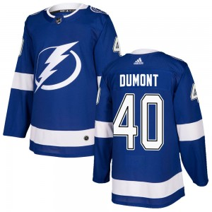 Tampa Bay Lightning Gabriel Dumont Official Blue Adidas Authentic Youth Home NHL Hockey Jersey