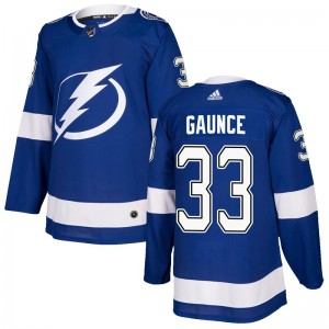 Tampa Bay Lightning Cameron Gaunce Official Blue Adidas Authentic Youth Home NHL Hockey Jersey