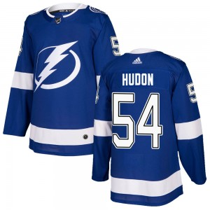 Tampa Bay Lightning Charles Hudon Official Blue Adidas Authentic Youth Home NHL Hockey Jersey