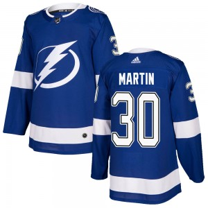Tampa Bay Lightning Spencer Martin Official Blue Adidas Authentic Youth Home NHL Hockey Jersey
