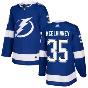 Tampa Bay Lightning Curtis McElhinney Official Blue Adidas Authentic Youth Home NHL Hockey Jersey