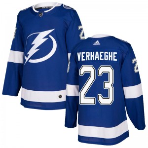 Tampa Bay Lightning Carter Verhaeghe Official Blue Adidas Authentic Youth Home NHL Hockey Jersey
