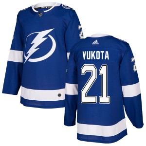 Tampa Bay Lightning Mick Vukota Official Blue Adidas Authentic Youth Home NHL Hockey Jersey