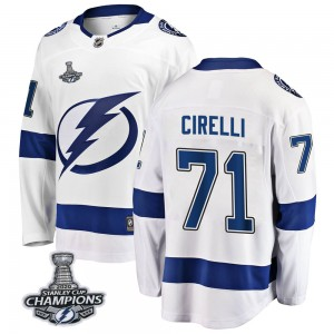 Tampa Bay Lightning Anthony Cirelli Official White Fanatics Branded Breakaway Adult Away 2020 Stanley Cup Champions NHL Hockey J