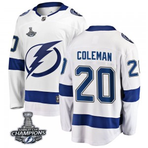 Tampa Bay Lightning Blake Coleman Official White Fanatics Branded Breakaway Adult Away 2020 Stanley Cup Champions NHL Hockey Jer