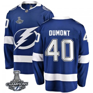 Tampa Bay Lightning Gabriel Dumont Official Blue Fanatics Branded Breakaway Adult Home 2020 Stanley Cup Champions NHL Hockey Jer