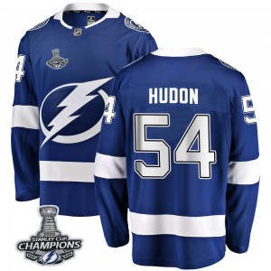 Tampa Bay Lightning Charles Hudon Official Blue Fanatics Branded Breakaway Adult Home 2020 Stanley Cup Champions NHL Hockey Jers