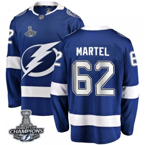 Tampa Bay Lightning Danick Martel Official Blue Fanatics Branded Breakaway Adult Home 2020 Stanley Cup Champions NHL Hockey Jers