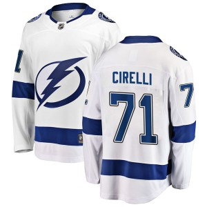 Tampa Bay Lightning Anthony Cirelli Official White Fanatics Branded Breakaway Youth Away NHL Hockey Jersey